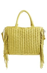 Day And Mood 'Lily' Fringed Leather Satchel Yellow Lemon