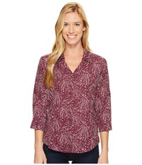 Royal Robbins Expedition Chill Stretch Sky Print 3 4 Sleeve Top Plum Wine Women's Long Sleeve Button Up Purple