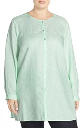 Plus Size Women's Eileen Fisher Organic Linen Round Neck Long Shirt Green Mint