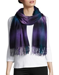 Lord And Taylor Fringe Wrap Scarf Blue