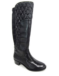 Adrienne Vittadini Keith Quilted Leather Mid Calf Boots Black