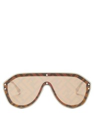 Fendi Ff Monogram Aviator Sunglasses Brown Gold