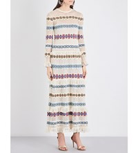 Alexander Mcqueen Striped Knitted Silk Dress Pale Blue Red Yellow