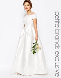 Chi Chi Petite Chi Chi London Petite Bridal Maxi Dress With Embroidery And Cap Sleeve White