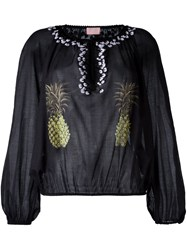 Giamba Collarless Pineapple Print Blouse Black