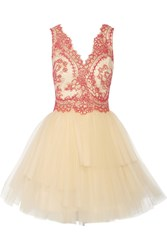 Marchesa Corded Lace And Tulle Mini Dress White