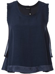 Twin Set Frilled Sleeve Top Blue