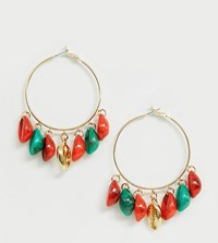 Designb London Bright Resin Shell Hoop Earring Gold