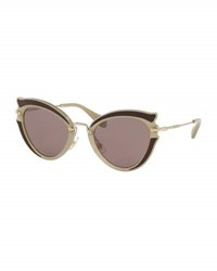 Miu Miu Noir Gradient Cat Eye Silk Satin Sunglasses Brown Purple Brown Purple