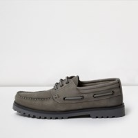 River Island Mensgrey Suede Cleated Boat Shoes