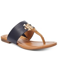 Tommy Hilfiger Sia Slip On Thong Sandals Women's Shoes Navy