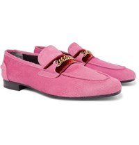 Tom Ford Wilton Chain Embellished Calf Hair Loafers Pink