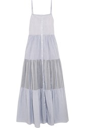 Sea Tiered Striped Cotton Poplin Maxi Dress Sky Blue