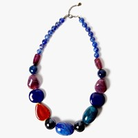 One Button Beaded Statement Necklace Deep Blue Multi