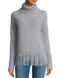 Michael Michael Kors Fringed Ribbed Turtleneck Sweater Pearl