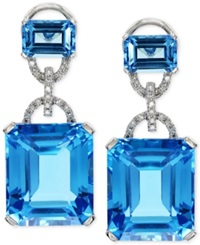 Effy Collection Effy Blue Topaz 28 1 5 Ct. T.W. And Diamond 1 8 Ct. T.W. Earrings In 14K White Gold