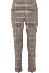 Givenchy Checked Wool Blend Straight Leg Pants Blue