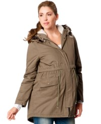 Motherhood Maternity Faux Fur Hood Anorak Coat Olive