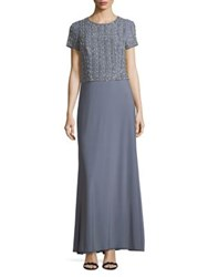 Cachet Short Sleeve Beaded Gown Powder Blue
