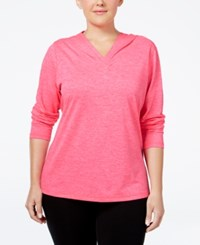Ideology Plus Size Hooded Heathered Top Only At Macy's Molten Pink
