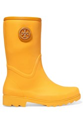 Tory Burch Maureen Leather Trimmed Rubber Rain Boots Yellow