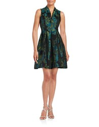 Vince Camuto Floral Jacquard Fit And Flare Dress Green Navy