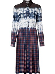 Altuzarra Tie Dye Plaid Shirt Dress Blue