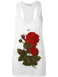 Off White Rose Embroidery Tank White