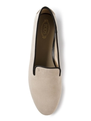 Tod's Grosgrain Trim Slippers Nude And Neutrals