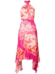 Josie Natori Peony Print Halterneck Dress Pink And Purple