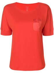 Marc Cain Silk Chest Pocket T Shirt Red