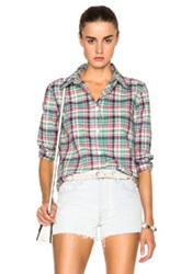 A.P.C. Mike Madras Plaid Shirt In Green Checkered And Plaid