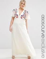 Asos Curve Maxi Dress With Cross Stitch Embroidery Multi