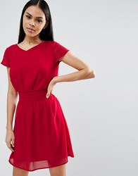 Pussycat London Pleated Skater Dress Red