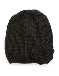 Wooden Ships Knit Flower Beanie Black