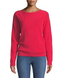 St. John Cashmere Wool Blend Ribbed Sweater Red