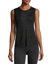 Koral Parallax Crewneck Pintucked Performance Tank Black
