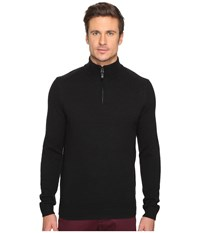 Ben Sherman Long Sleeve Lambswool Half Zip Knit True Black Men's Long Sleeve Button Up