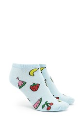 Forever 21 Fruit Print Ankle Socks Blue Multi
