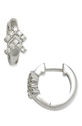 Dana Rebecca Women's Designs Double Arrow Diamond Hoop Earrings White Gold