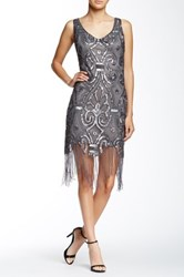 Romeo And Juliet Couture V Neck Fringe Sequin Dress Gray