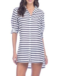 Lauren Ralph Lauren Striped Camp Shirt Cover Up White Navy