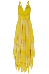 Alice Olivia Tonia Striped Chiffon Gown Yellow