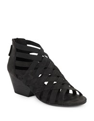 Eileen Fisher Oodle Nubuck Cross Strapped Stacked Wedge Sandals Black