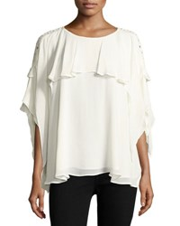 Iro Graham Lace Sleeve Ruffle Blouse White