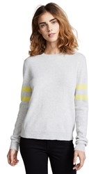 Bop Basics Cashmere Varsity Stripe Pullover Light Heather Grey Citron