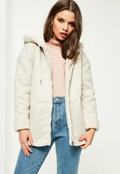 Missguided Petite White Zip Through Faux Shearling Jacket