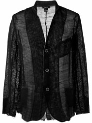 Avant Toi Frayed Edge Fine Knit Blazer Black