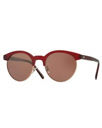 Oliver Peoples Ezelle Monochromatic Semi Rimless Sunglasses Red