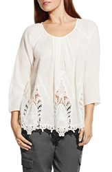 Women's Two By Vince Camuto Lace Border Gauze Peasant Top